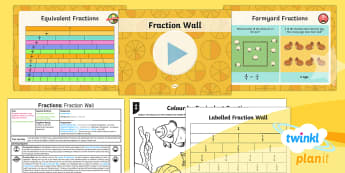 PlanIt Y4 Fractions Equivalent Fractions (1)  Lesson Pack - Fraction, equivalent, equivalent fractions, equal, equal fractions, fraction wall
