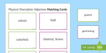 Adjectives for Physical Description Matching Cards