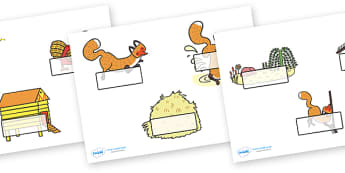 Editable Self Registration Labels to Support Teaching on Rosie's Walk - Self registration, register, story, Pat Hutchins, editable, labels, registration, child name label, printable labels,  book, Rosie, fox, farm, story book, story resources, Rosie