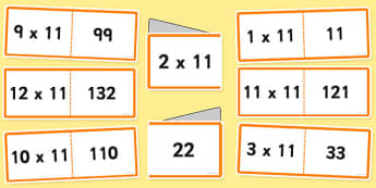 11 Times Tables Cards - multiplication, eleven, visual, numeracy, times table, times tables