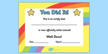 Toilet Training Certificate - toilet, training, certificate, award, reward