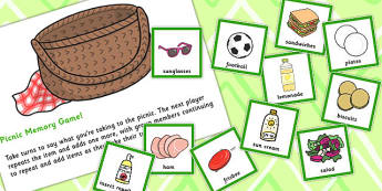 Picnic Memory Game - games, activity, activities, food, remember