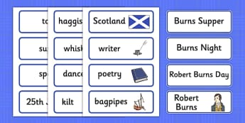 Burns Night Topic Word Cards - Robert Burns, January 25th, Burn's night, Robert Burns, word card, cards, flashcards,  poet, Scotland, scottish, burns supper, haggis, tartan