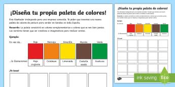 icha de actividad: ¡Diseña tu propia paleta de colores!  - mezcla, colores, diseñar, pintura, paleta, colores complementarios, teoría de color,Spanish
