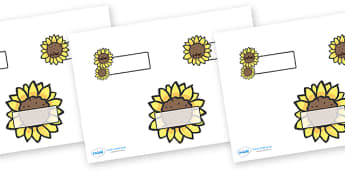 Editable Self Registration Labels (Sunflowers) - Self registration, register, sunflower, sunflowers, editable, labels, registration, child name label, printable labels