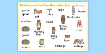 Goldilocks and the Three Bears Word Mat - Goldilocks and the Three Bears, word mat, writing aid, traditional tales, tale, fairy tale, three bears, porridge, cottage, beds, flashcards