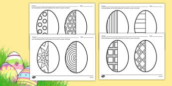 Simetrie pe ouă de Paște -  Fișă de lucru