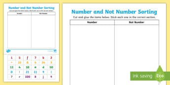 Number & Not Number Sorting Activity Sheet - EYLF, Numeracy, number and algebra, numbers, concept of print, reading, worksheet, number recognitio