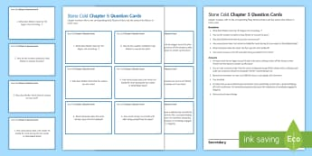 Chapter 5 Question Cards to Support Teaching on 'Stone Cold' by Robert Swindells - Swindells, Comprehension, Shelter, Link, Assess