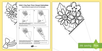 Father's Day Paper Flower Bouquet Colouring Activity English/Portuguese - bouquet, Fathers day, paper, colering, colourng, couloring, eal