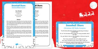 Snowball Share Christmas Elf Maths Scenario