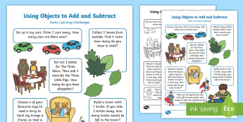 EYFS Using Objects To Add and Subtract Home Learning Challenges - Using quantities and objects, add and subtract two single-digit numbers, count on or back to find th