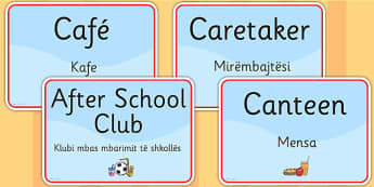 School Room Signs EAL Albanian Version - languages, signs, EAL