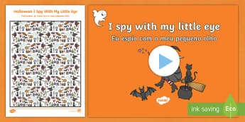 Halloween I Spy Activity Sheet and PowerPoint Pack English/Portuguese - halloween, hallowe'en, I spy, activity,haloween,halloweeen,hallowen, hallooween, hallowwen, oiche s