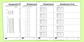 Multiplying 2 Digit Numbers by 2 Digit Numbers Using Grid Method Activity Sheet Pack - Multiplication, grid method, worksheet