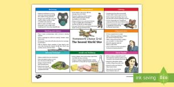 World War 2 CfE Homework Grid - active homework, choice, world war 2, ww2, ww11, world war, conflict, cross curricular,Scottish