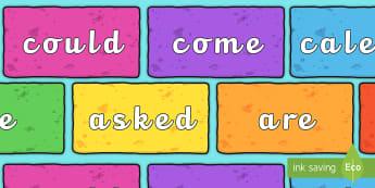 Tricky Words on Bricks (Multicolour) - Tricky words, DfES Letters and Sounds, Letters and sounds, display, words