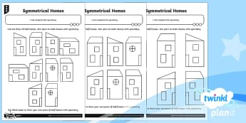 PlanIt Y2 Properties of Shapes Symmetrical Homes Home Learning Tasks -  symmetry, homework, mirror line, line symmetry, symmetrical