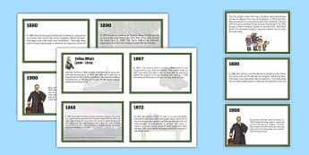 Scottish Significant Individuals John Muir Sequencing Cards - Scottish significant individual, conservation, National Parks, Yosemite, Sierra Nevada, United States