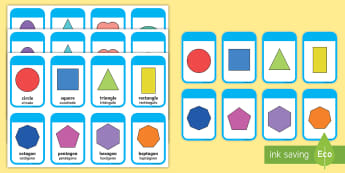 2D Shapes Flashcards English/Spanish - 2D Shape names, Shape Flashcards, Shape Pictures, Shape Words, 2D flashcards, numeracy, geometry, sh
