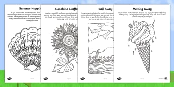 Summer Mindfulness Focus Activity Sheets - relaxing, mindful, happy, calming, colouring, worksheets