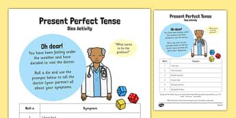 Present Perfect Tense Dice Activity - present, perfect, tense, dice, activity