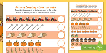 Autumn Counting Activity Sheet English/Spanish  -  Counting worksheet, autumn, counting, activity, how many, foundation numeracy, counting on, countin