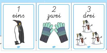 Numbers One to Ten Display Posters - Winter, Numbers, German