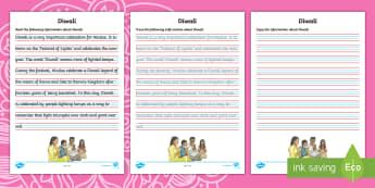 Diwali Handwriting Activity Sheet - diwali, handwriting, lakshmi, hindu, rama, sita, lamps, fluency, pencil control, legibility, neat,Au
