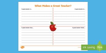 KS1 A Great Teacher Activity Sheet  - first week back, new school year, KS1, all about me,