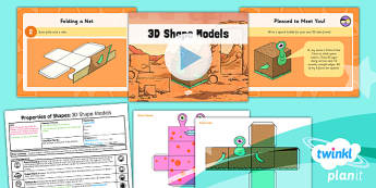 PlanIt Y3 Properties of Shapes Lesson Pack Shapes (3) - PlanIt, Properties of Shapes, 3D shapes, geometry, shape models, nets