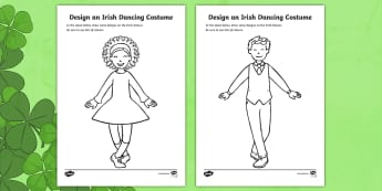 ROI Design an Irish Dancing Costume Colouring Page - ROI - St. Patrick's Day Resources, Irish Dancing, Costume design,Irish
