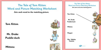 Beatrix Potter - The Tale of Tom Kitten Word and Picture Match - beatrix potter, tom kitten