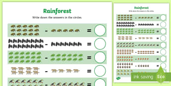 Rainforest Themed Subtraction within 20 Activity Sheet - Rainforest Themed Up to 10 Addition Sheet - rainforest, up to 10, addition, add, maths, mathematics