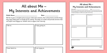 Parent and Child Review of Interests and Achievements at Home Tracking Sheet Template - EYFS assessment, Early years assessment