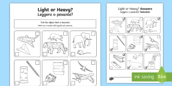 Light or Heavy Activity Sheet English/Italian - Measurement, worksheet, weight, mass, weighing, measures, comparing, compare, ssm, ks1, y1, year 1,