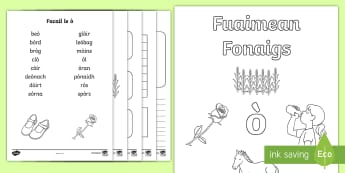 Fuaimean Fonaigs ò Duilleag-Obrach - Cfe, Early Level, First Level, Letters, Sounds, Phonics, Gaelic Sounds, Gaelic Alphabet,Scottish, wo