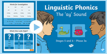 Northern Ireland Linguistic Phonics Stage 5 and 6 Phase 3a, 'ay' Sound PowerPoint