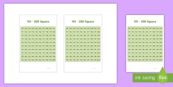 101 to 200 Square IKEA Tolsby Frame  - 101 200 Square - squares, numbers, number, visual aids, maths, sqaures, numbes, nubers, matsh