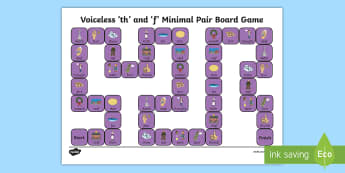 Voiceless 'th' and 'f' Minimal Pair Board Game - voiceless th, fricatives, phonology, articulation, speech sounds, dyspraxia, minimal pairs