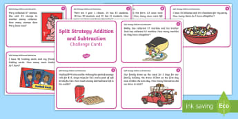 Split Strategy Addition and Subtraction Challenge Cards - Mathematics, Year 1, Number and Algebra, Number and place value, ACMNA015, ACMNA030, split strategy,