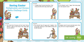 KS1 Saving Easter Multiplication and Division Maths Challenge Cards - Children's Books, story, book, Easter, save, saving, Easter Bunny, bunny, bunnies, stories, chick,