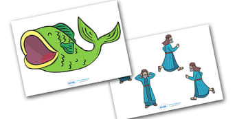 Jonah and the Big Fish Stick Puppets - Jonah, bible, big fish, God, Ninevah, fish, help, story, story book, story sequencing, story resources, stick puppet, biblical story, biblical stories, eaten by a fish, listen to god