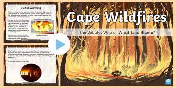 Cape Wildfires - Who Or What Is To Blame? PowerPoint  - wlidfire, cape, western cape, debate, blame, global warming, speaking promts