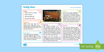Toys: Teddy Bear KS2 Exploration Sheet - toys, teddy bear, bear, cuddly toy, KS2, Imagine (KS2)