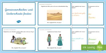 Leseverständnis üben Gemeinsamkeiten und Unterschiede: DIN A4 Karteikarten  - Lesen, Deutsch, gleich, unterschiedlich, anders, Leseverstehen, ,German
