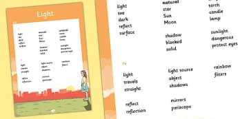 KS2 Light Scientific Vocabulary Progression Poster - posters