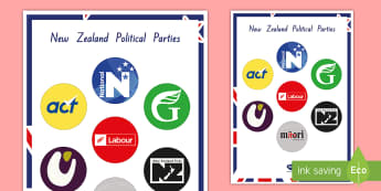 New Zealand Political Parties Display Poster - New Zealand, 2017 Elections, Government, National, Greens, Labour, New Zealand First, Parliament, Ma