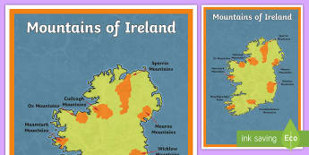 Mountains of Ireland Large Display Poster - geography, mountains, Ireland, physical geography, SESE, map, ,Irish