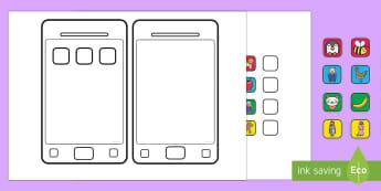 Create a Smartphone Cut Out Activity - design, phone, smart phone, mobile, technology, create emojis, moji